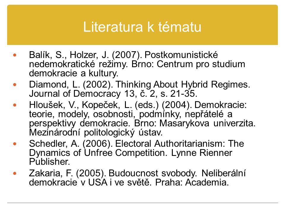Literatura k tématu Balík, S., Holzer, J. (2007). Postkomunistické nedemokratické režimy. Brno: Centrum pro studium demokracie a kultury.