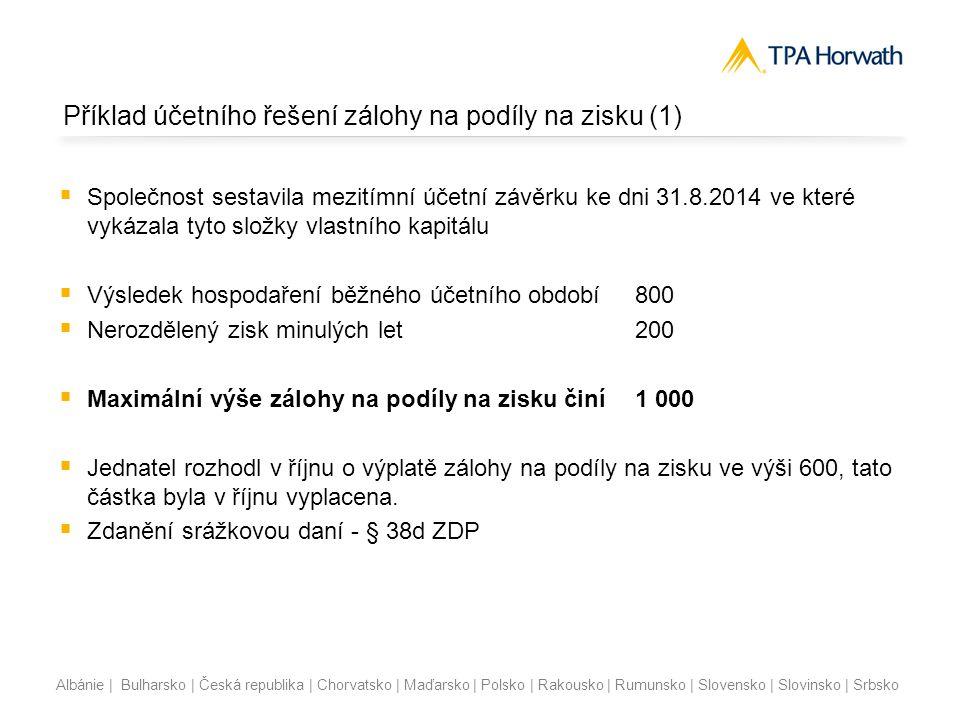Příklad účetního řešení zálohy na podíly na zisku (1)