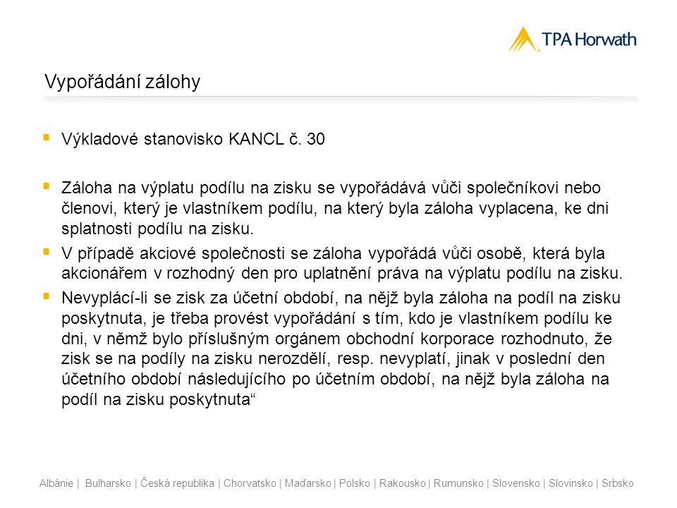 Vypořádání zálohy Výkladové stanovisko KANCL č. 30
