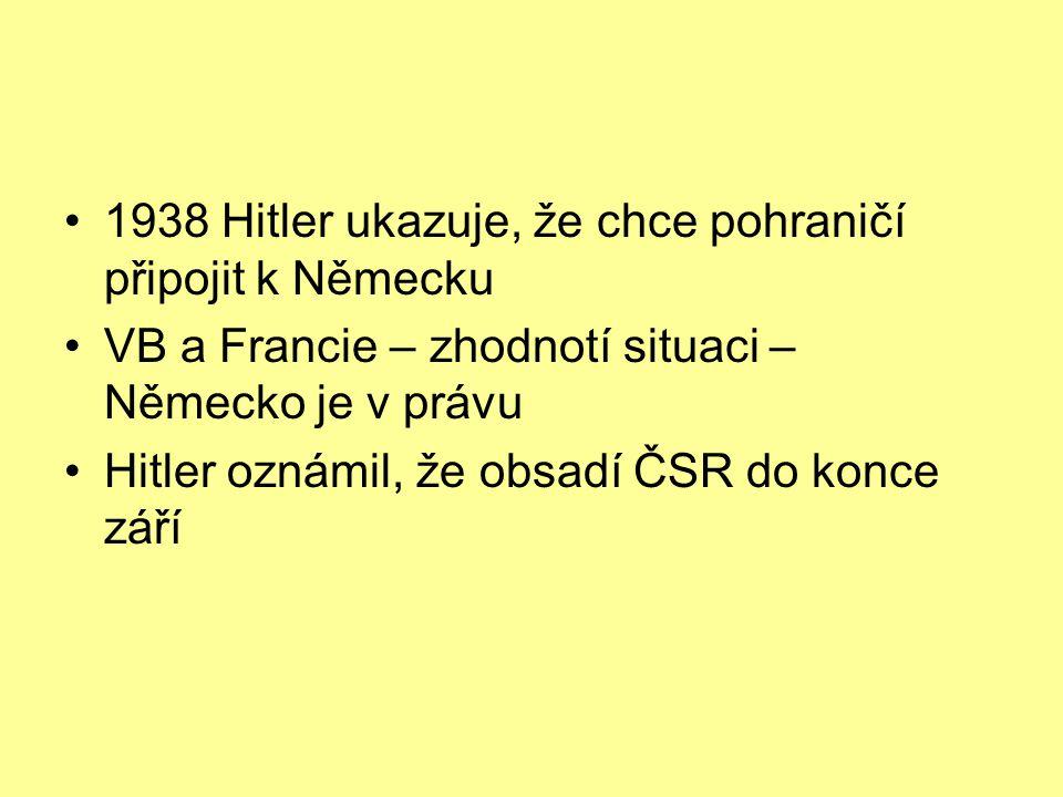 1938 Hitler ukazuje, že chce pohraničí připojit k Německu