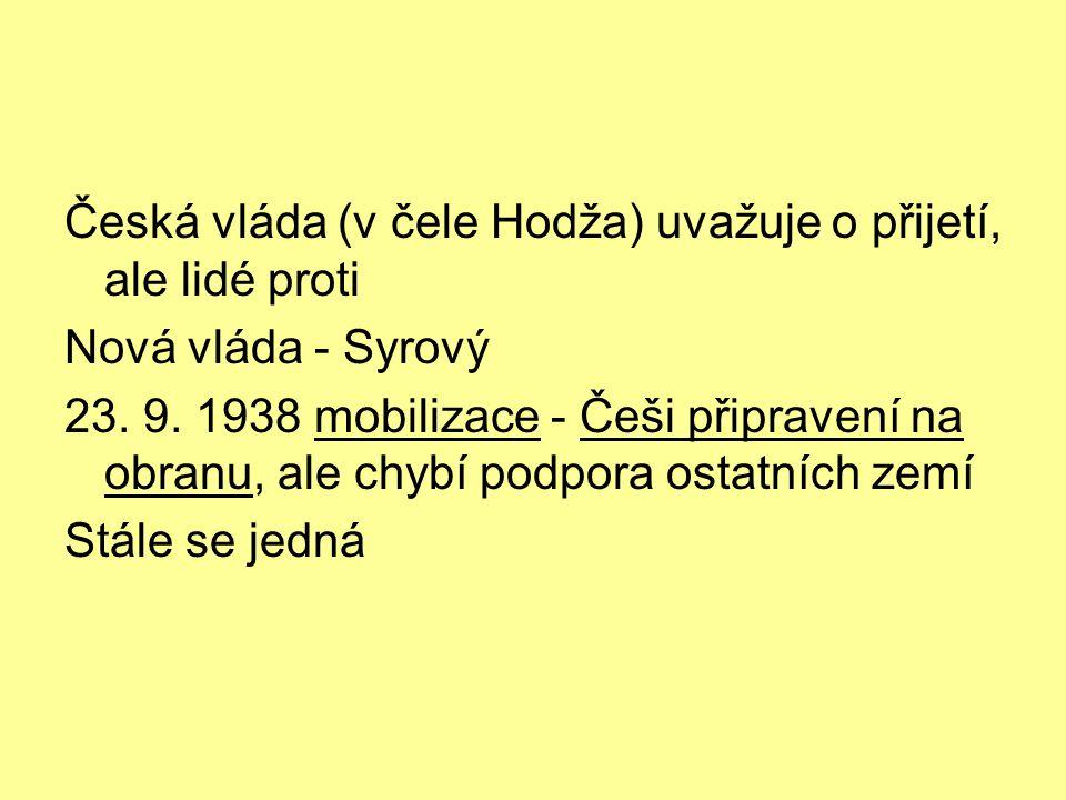 Česká vláda (v čele Hodža) uvažuje o přijetí, ale lidé proti
