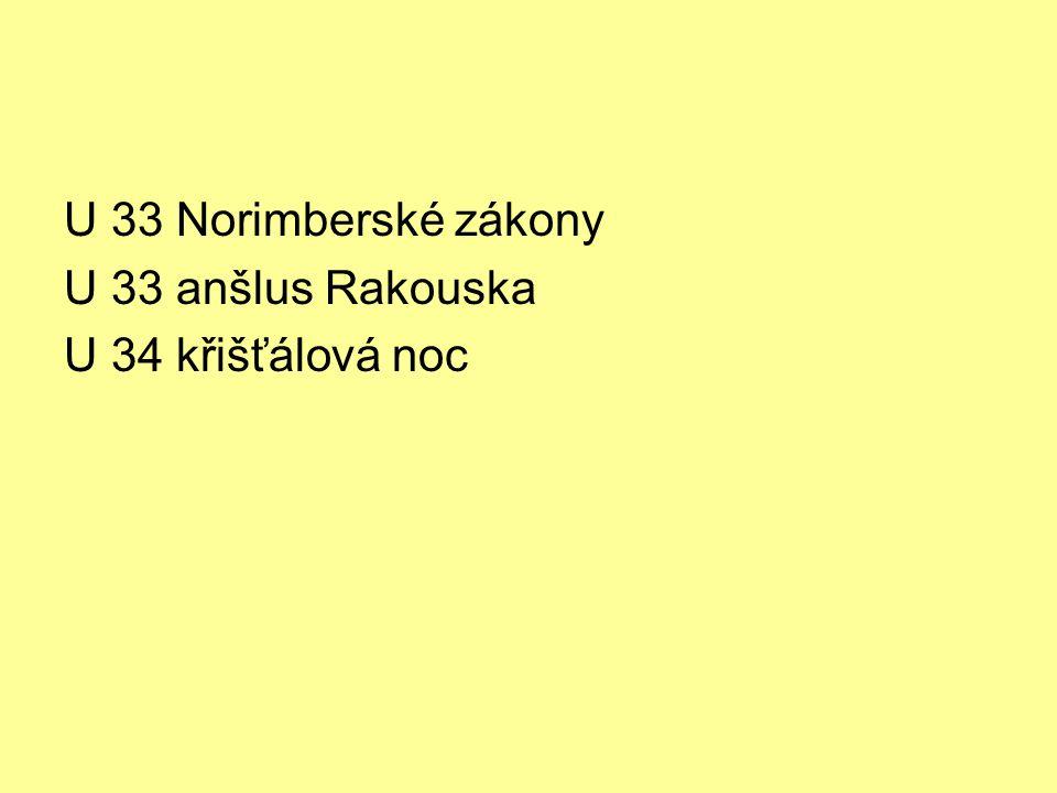 U 33 Norimberské zákony U 33 anšlus Rakouska U 34 křišťálová noc