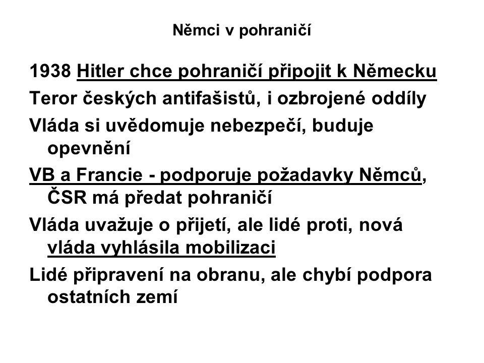 1938 Hitler chce pohraničí připojit k Německu