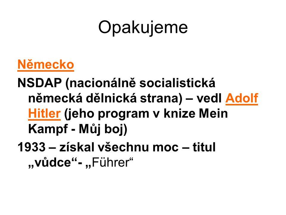 Opakujeme Německo. NSDAP (nacionálně socialistická německá dělnická strana) – vedl Adolf Hitler (jeho program v knize Mein Kampf - Můj boj)
