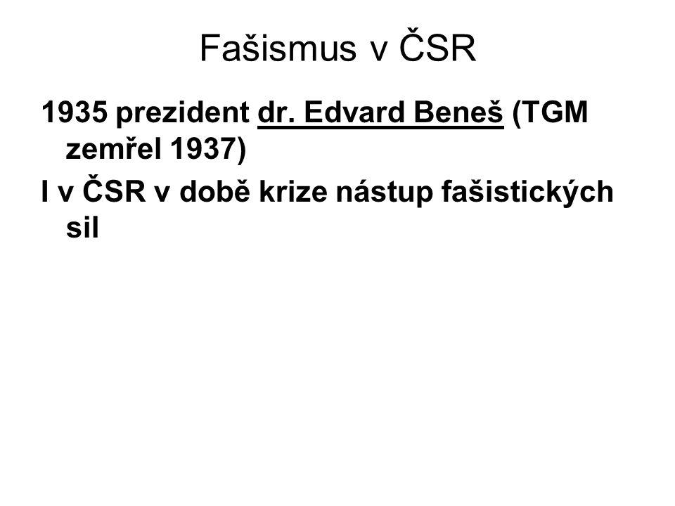 Fašismus v ČSR 1935 prezident dr. Edvard Beneš (TGM zemřel 1937)