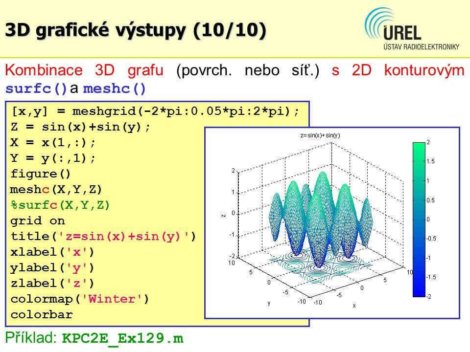 3D grafické výstupy (10/10) Kombinace 3D grafu (povrch. nebo síť.) s 2D konturovým surfc()a meshc()