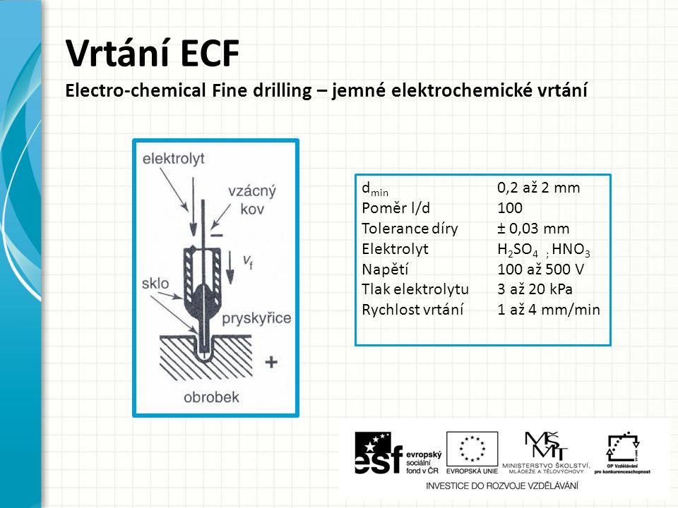 Vrtání ECF Electro-chemical Fine drilling – jemné elektrochemické vrtání