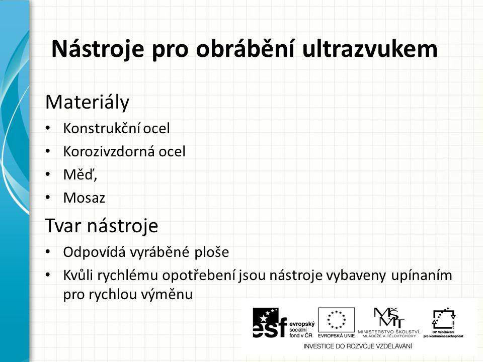 Nástroje pro obrábění ultrazvukem