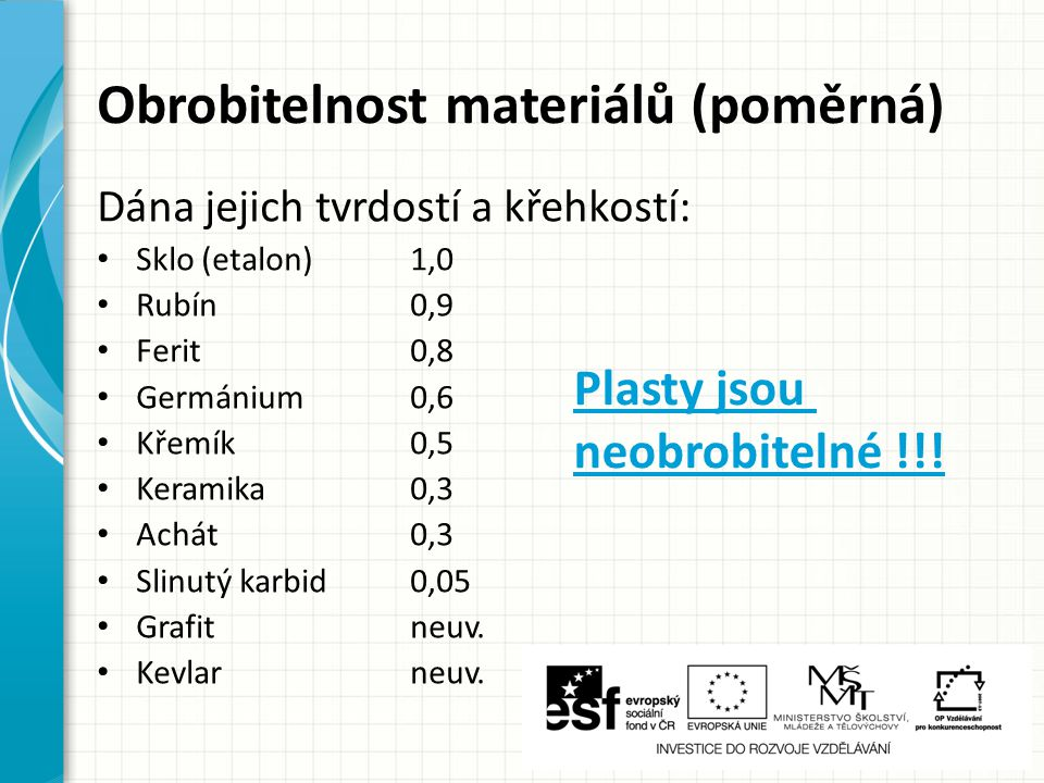 Obrobitelnost materiálů (poměrná)