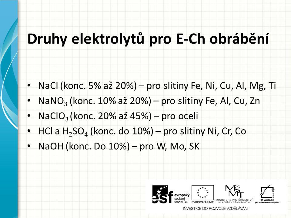 Druhy elektrolytů pro E-Ch obrábění
