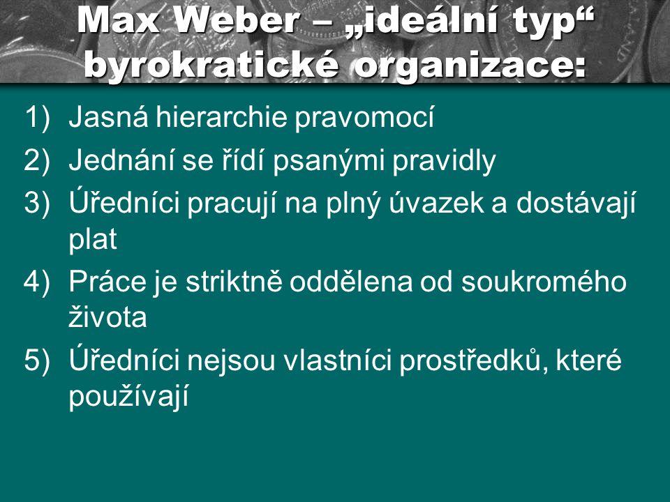 """Max Weber – """"ideální typ byrokratické organizace:"""