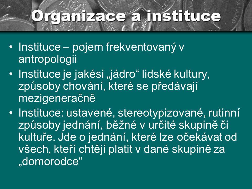 Organizace a instituce