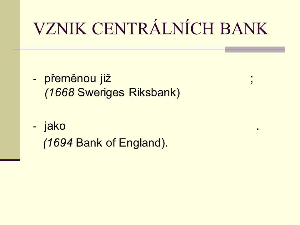 VZNIK CENTRÁLNÍCH BANK