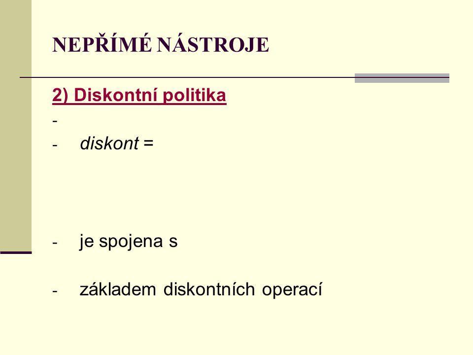 NEPŘÍMÉ NÁSTROJE 2) Diskontní politika diskont = je spojena s