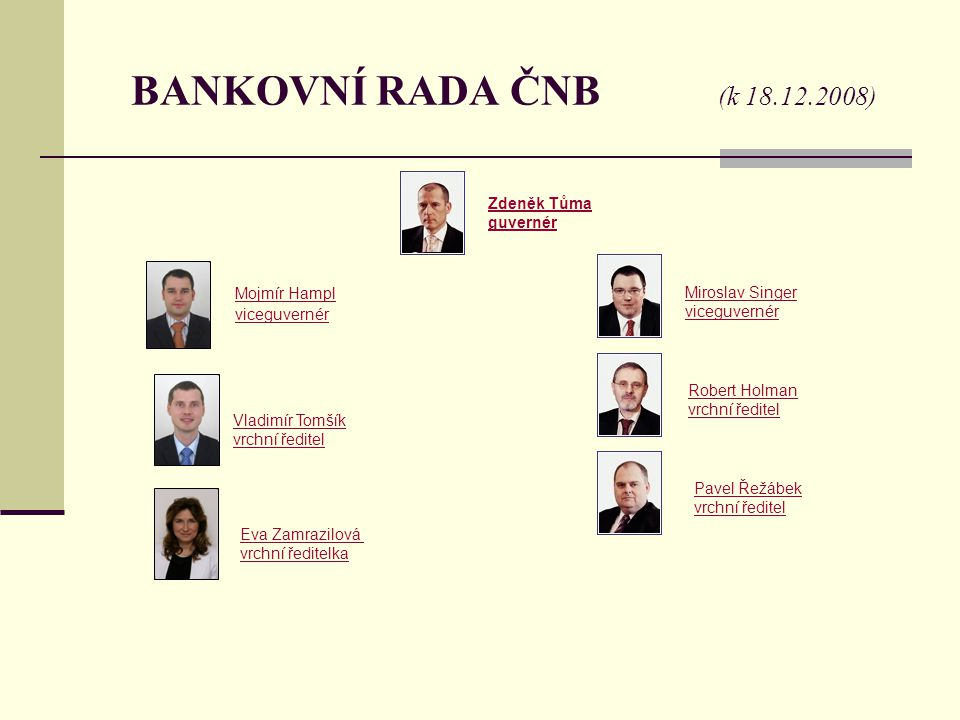 BANKOVNÍ RADA ČNB (k 18.12.2008) Zdeněk Tůma guvernér