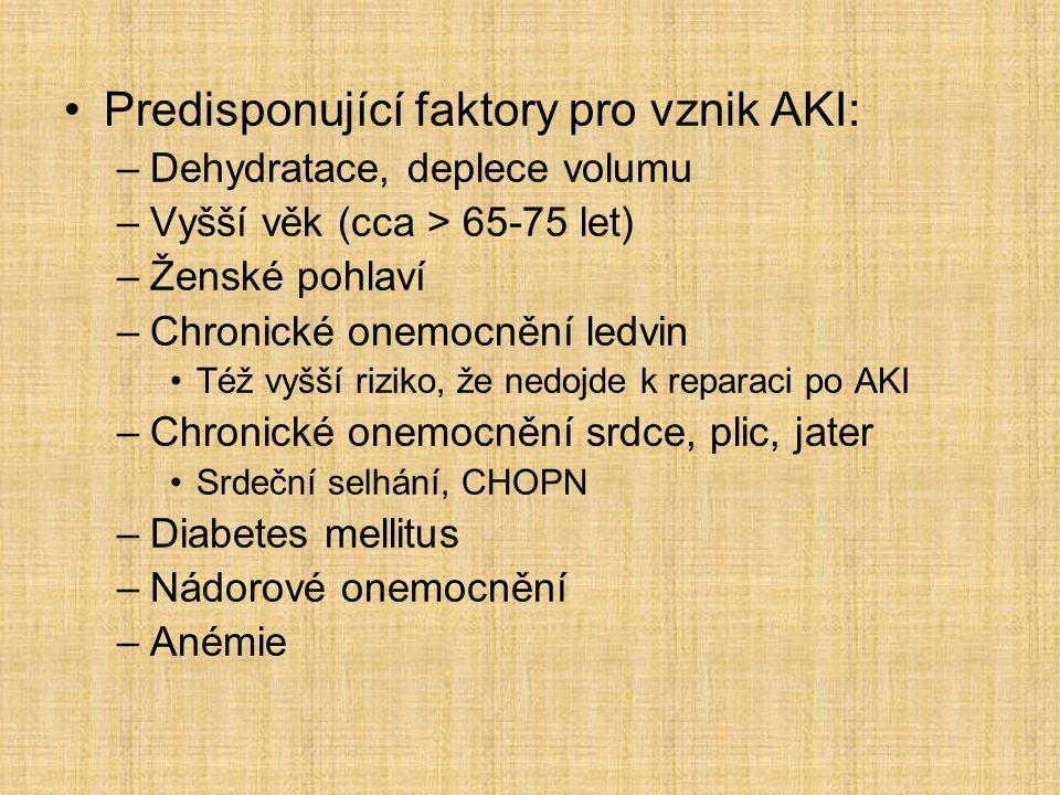 Predisponující faktory pro vznik AKI: