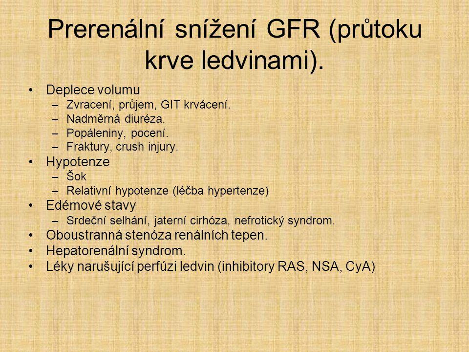 Prerenální snížení GFR (průtoku krve ledvinami).