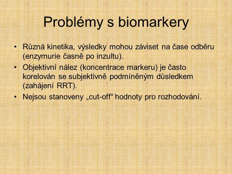 Problémy s biomarkery Různá kinetika, výsledky mohou záviset na čase odběru (enzymurie časně po inzultu).