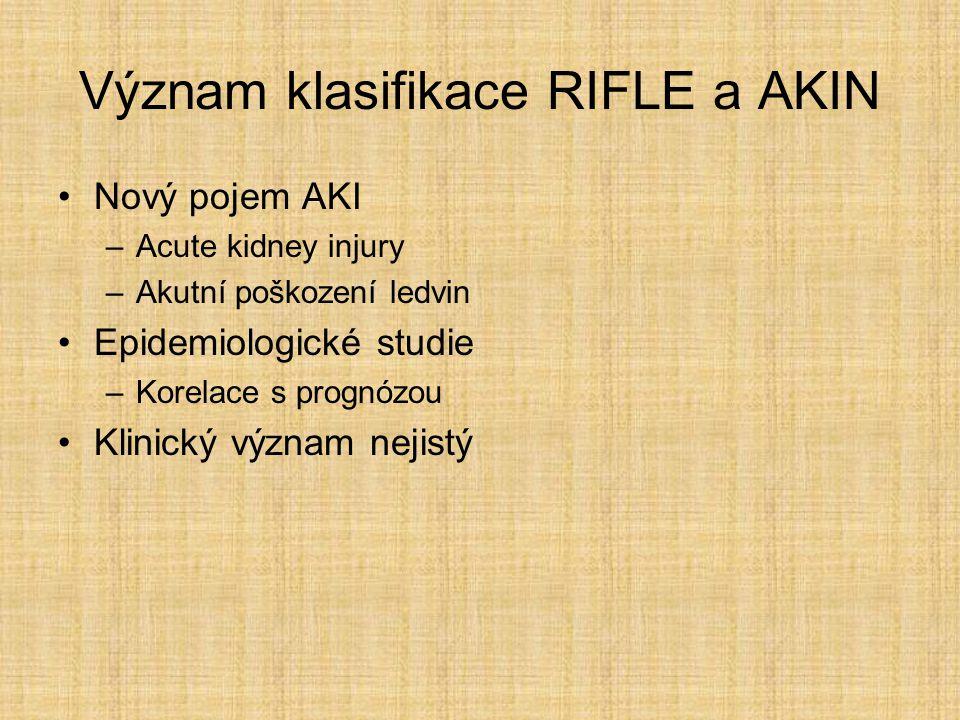 Význam klasifikace RIFLE a AKIN