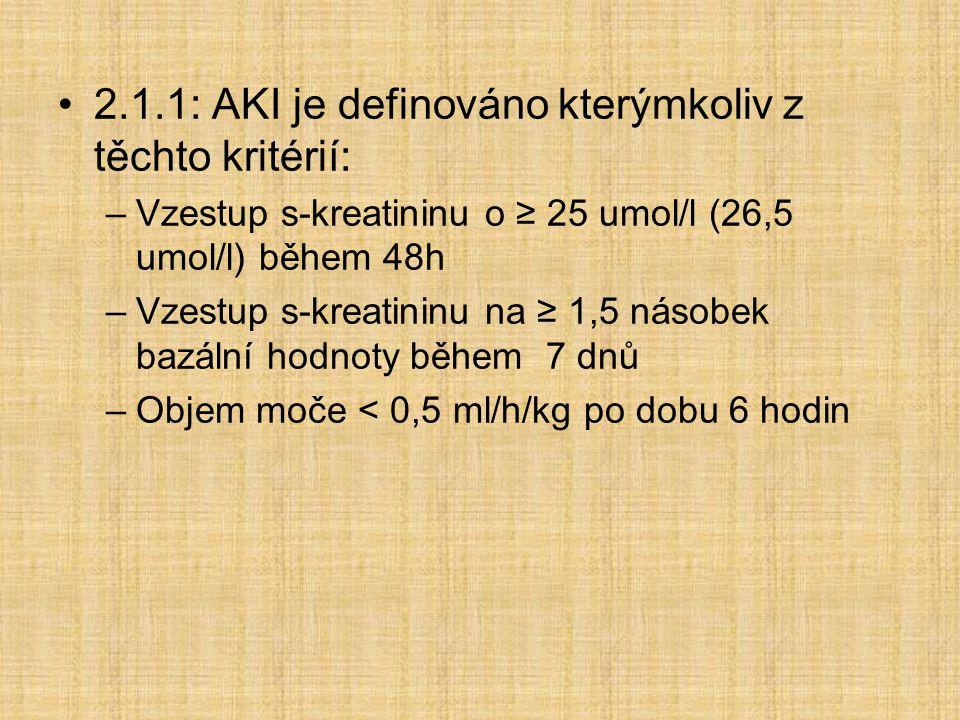 2.1.1: AKI je definováno kterýmkoliv z těchto kritérií: