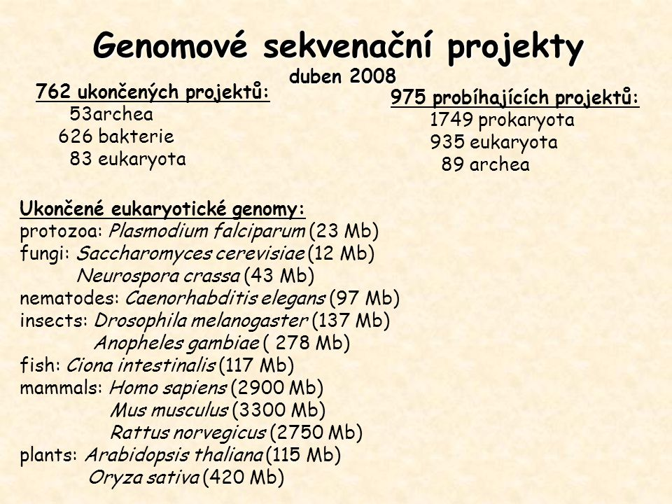 Genomové sekvenační projekty duben 2008