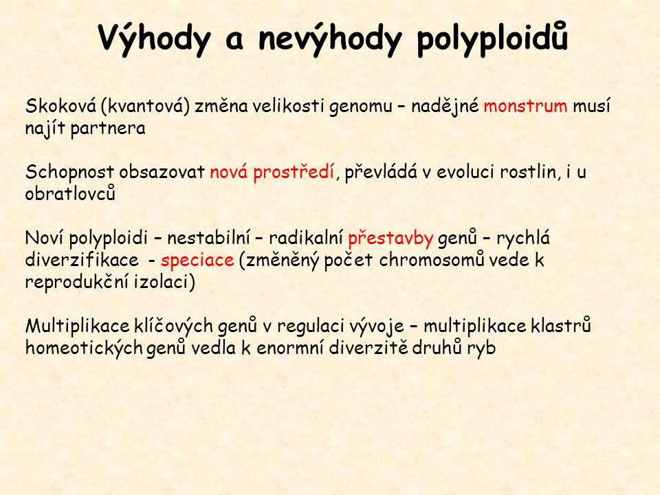 Výhody a nevýhody polyploidů