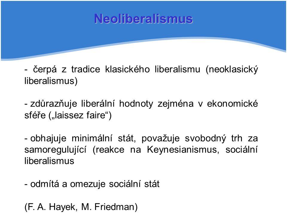 Neoliberalismus čerpá z tradice klasického liberalismu (neoklasický liberalismus)