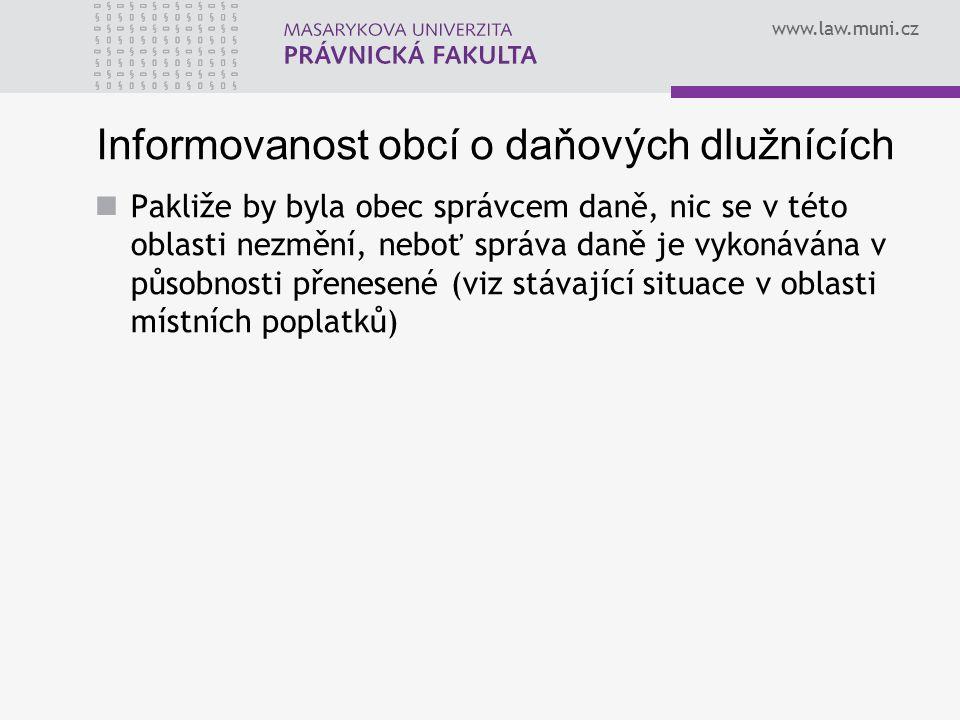 Informovanost obcí o daňových dlužnících