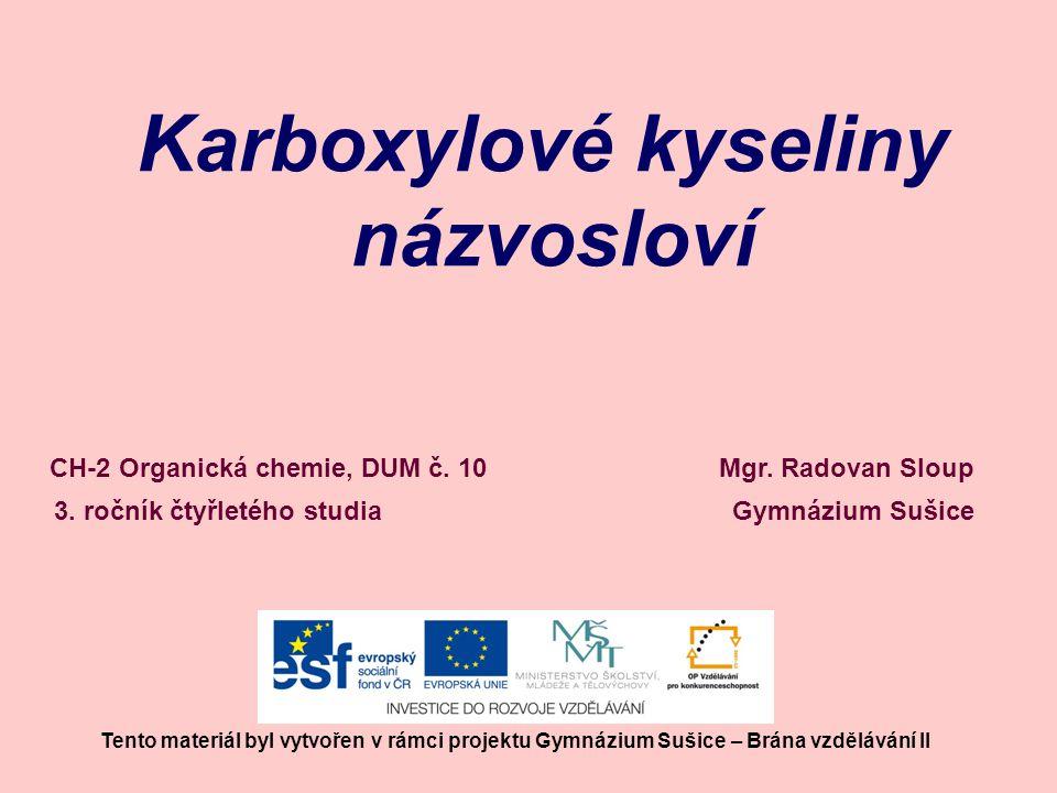 Karboxylové kyseliny názvosloví