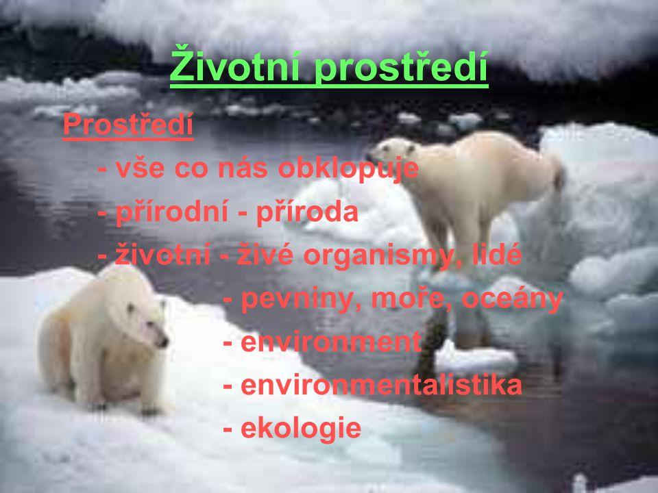 Životní prostředí - vše co nás obklopuje - přírodní - příroda