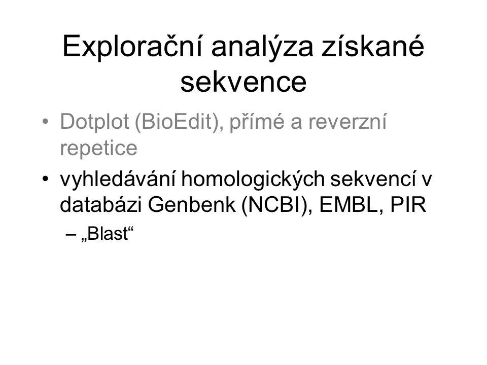 Explorační analýza získané sekvence