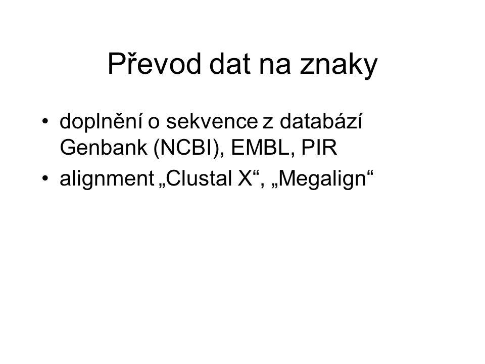 Převod dat na znaky doplnění o sekvence z databází Genbank (NCBI), EMBL, PIR.