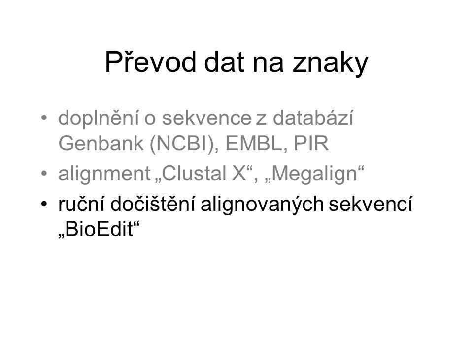 """Převod dat na znaky doplnění o sekvence z databází Genbank (NCBI), EMBL, PIR. alignment """"Clustal X , """"Megalign"""