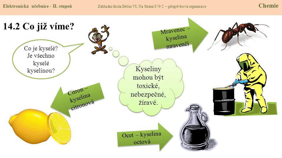 14.2 Co již víme Kyseliny mohou být toxické, nebezpečné, žíravé.