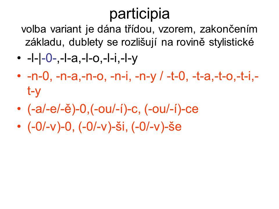 participia volba variant je dána třídou, vzorem, zakončením základu, dublety se rozlišují na rovině stylistické