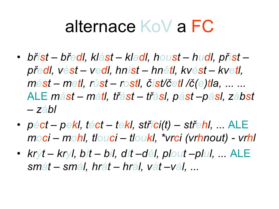 alternace KoV a FC