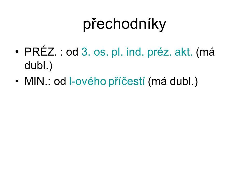 přechodníky PRÉZ. : od 3. os. pl. ind. préz. akt. (má dubl.)