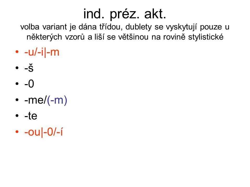 ind. préz. akt. volba variant je dána třídou, dublety se vyskytují pouze u některých vzorů a liší se většinou na rovině stylistické