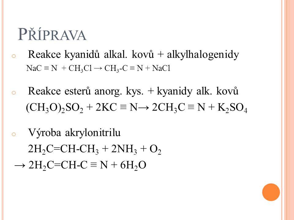 Příprava Reakce kyanidů alkal. kovů + alkylhalogenidy