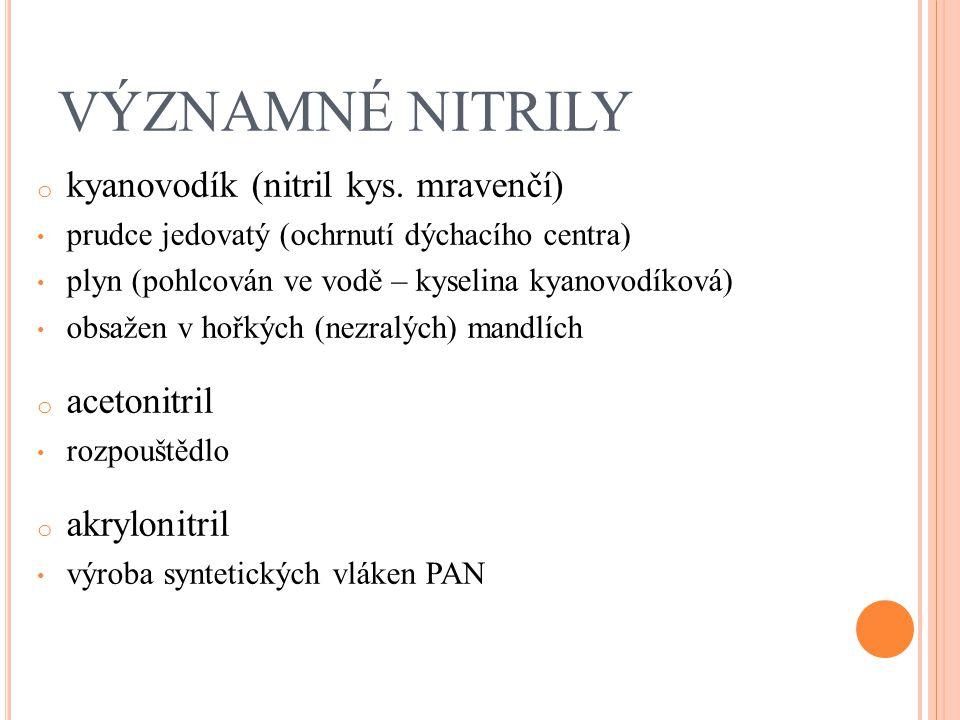 VÝZNAMNÉ NITRILY kyanovodík (nitril kys. mravenčí) acetonitril