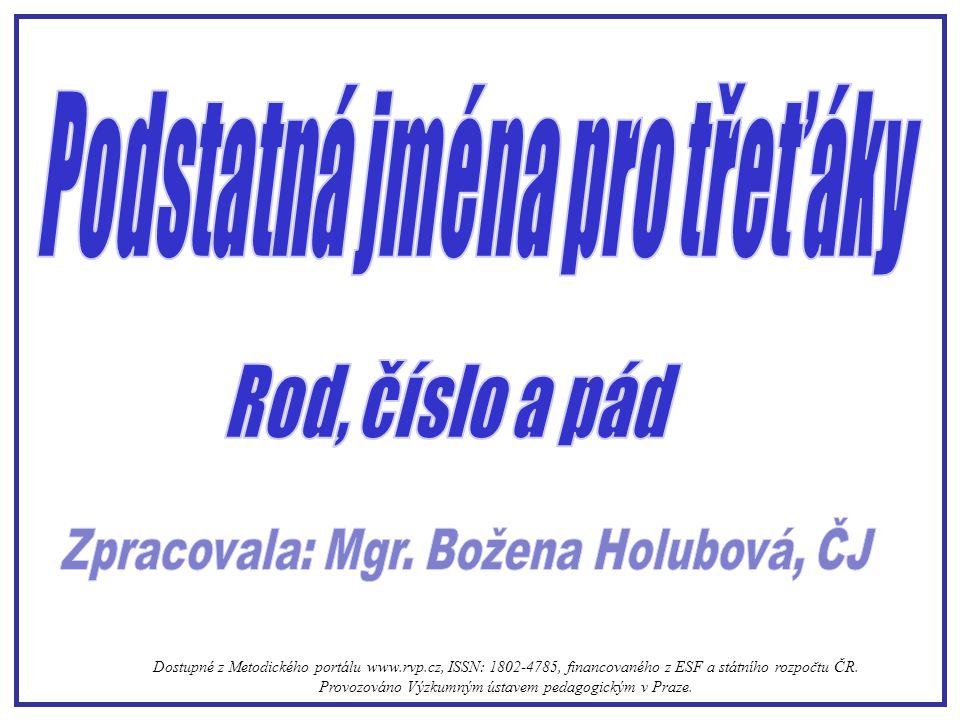 Podstatná jména pro třeťáky Zpracovala: Mgr. Božena Holubová, ČJ
