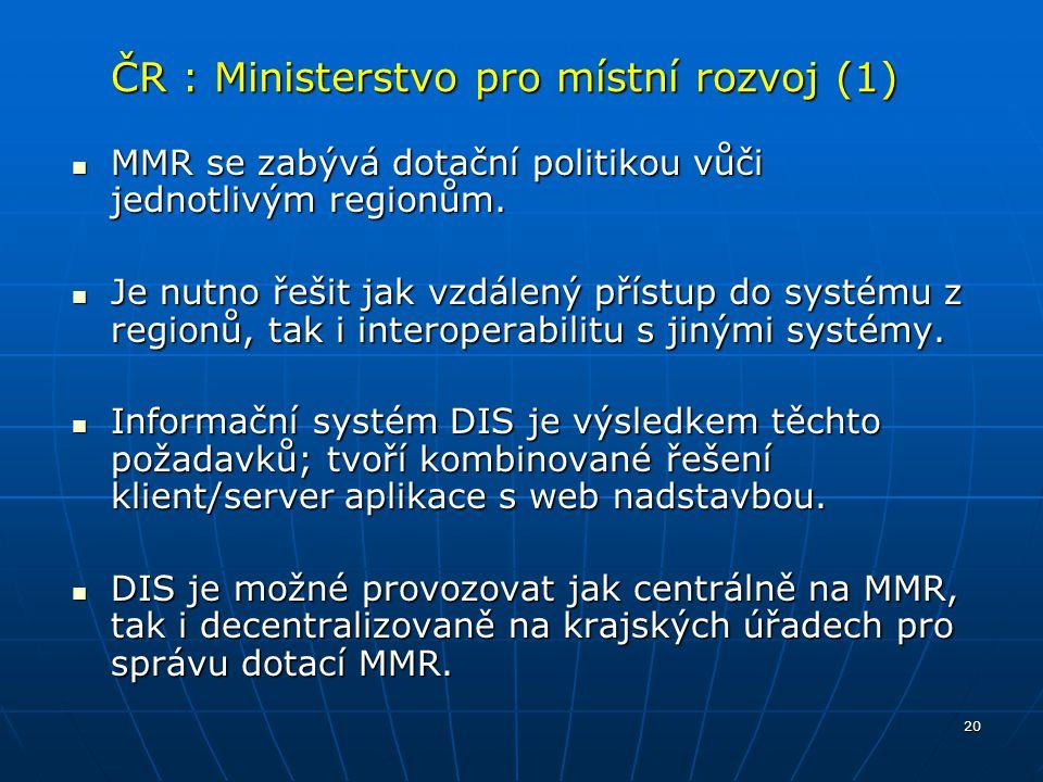 ČR : Ministerstvo pro místní rozvoj (1)
