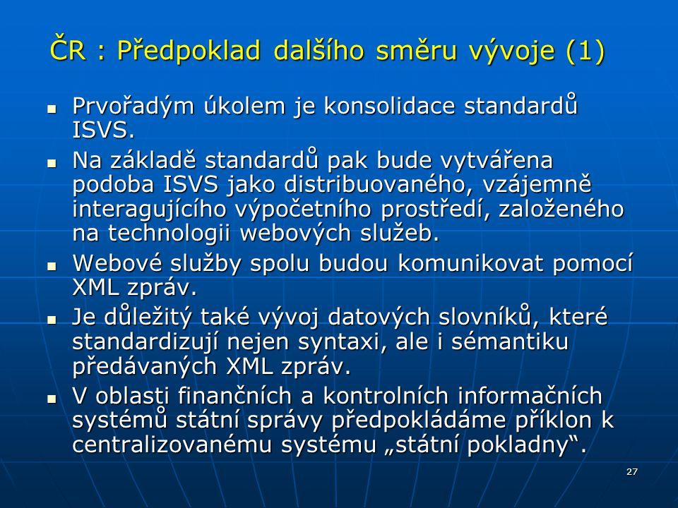 ČR : Předpoklad dalšího směru vývoje (1)