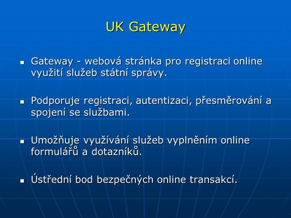 UK Gateway Gateway - webová stránka pro registraci online využití služeb státní správy.