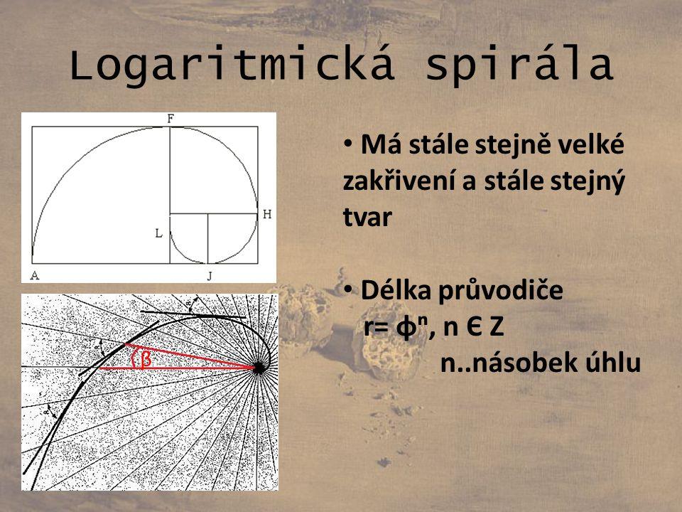 Logaritmická spirála Má stále stejně velké zakřivení a stále stejný tvar. Délka průvodiče. r= φⁿ, n Є Z.