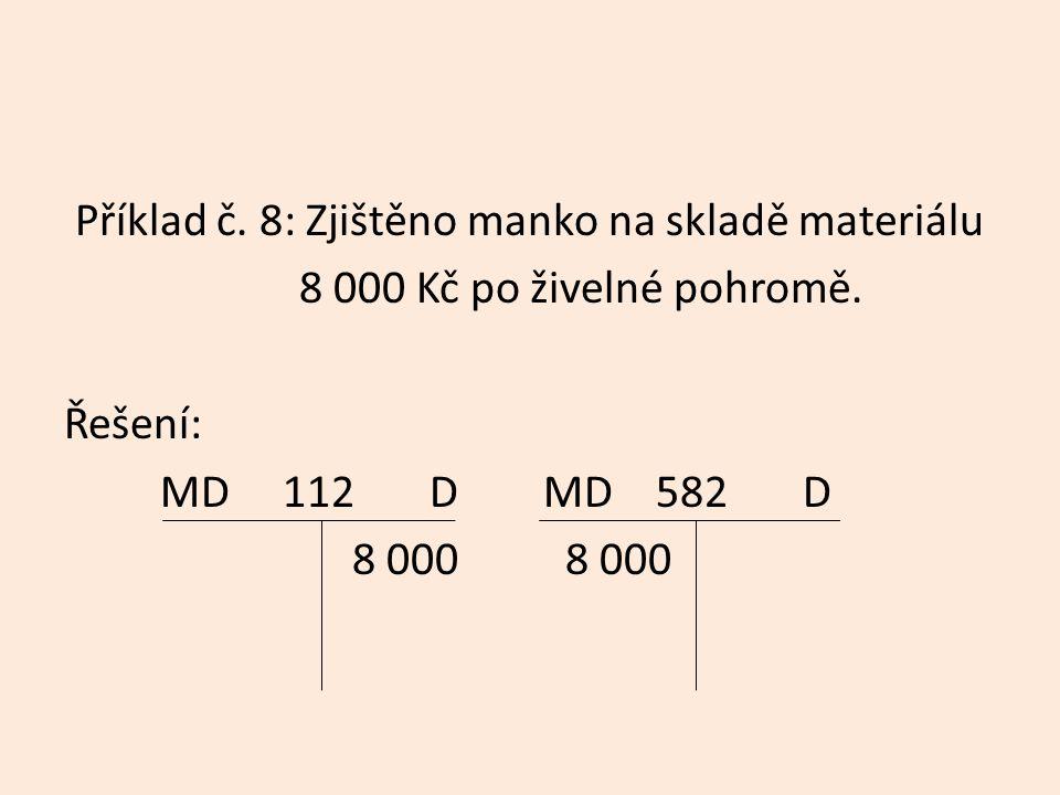 Příklad č. 8: Zjištěno manko na skladě materiálu 8 000 Kč po živelné pohromě.