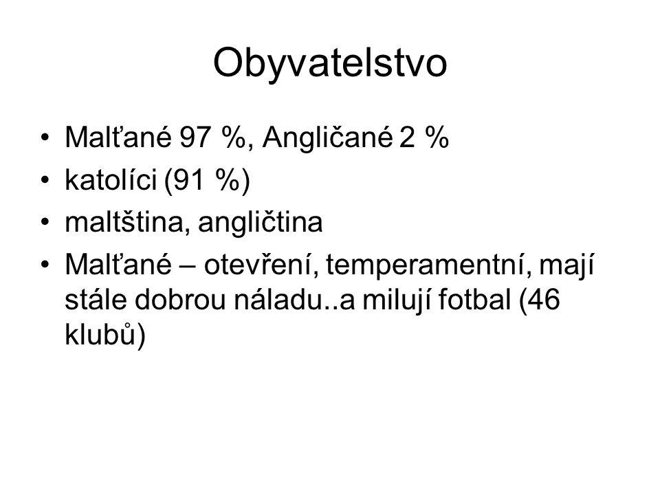 Obyvatelstvo Malťané 97 %, Angličané 2 % katolíci (91 %)