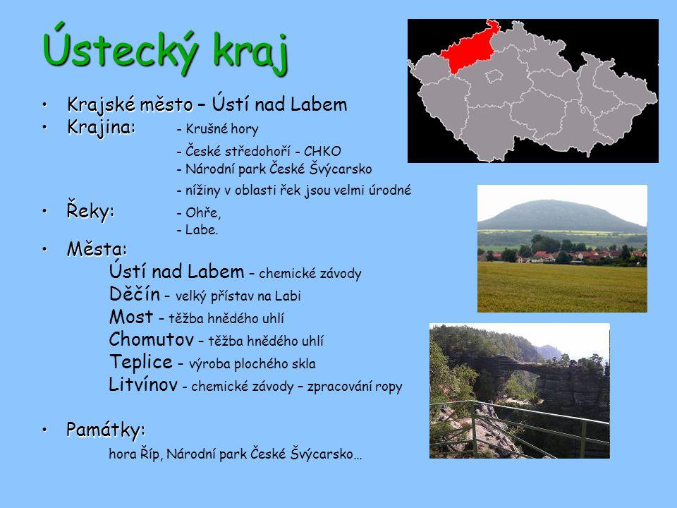 Ústecký kraj Krajské město – Ústí nad Labem Krajina: - Krušné hory