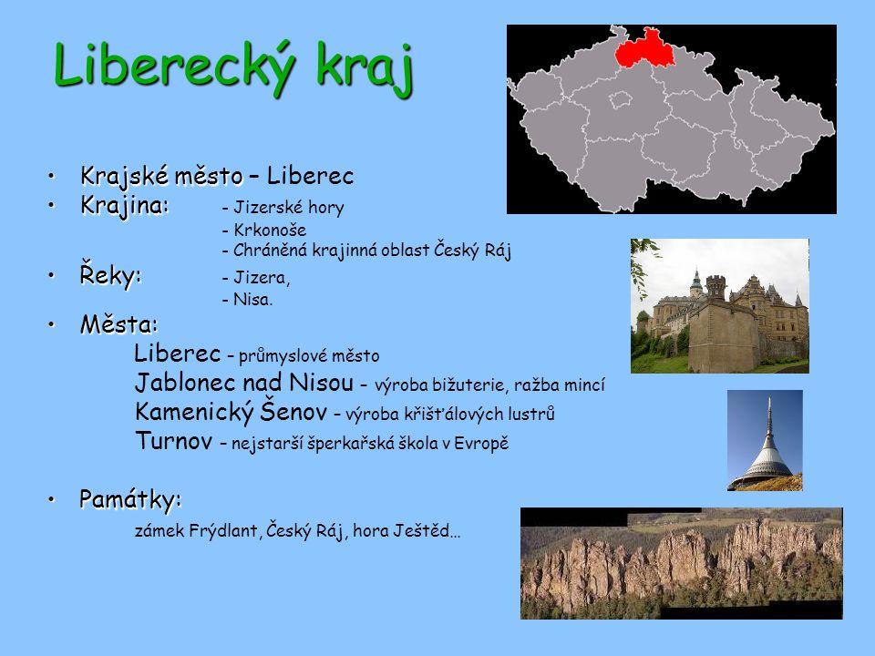 Liberecký kraj Krajské město – Liberec Krajina: - Jizerské hory