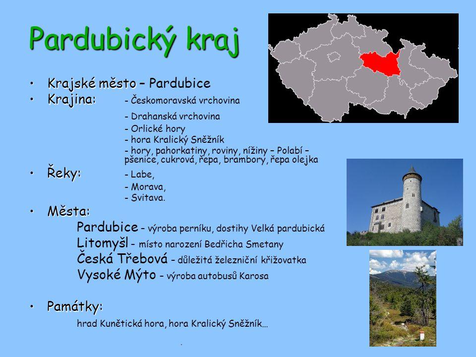 Pardubický kraj Krajské město – Pardubice